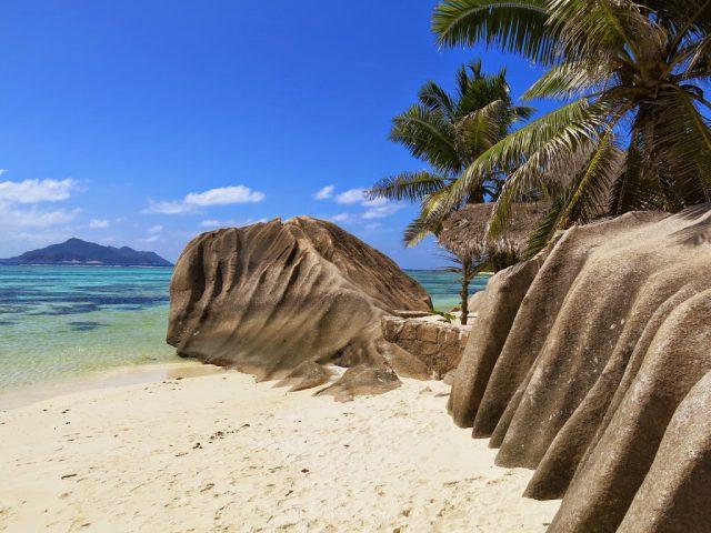 Stranden Anse Source d´Argent på ön La Digue på Seychellerna