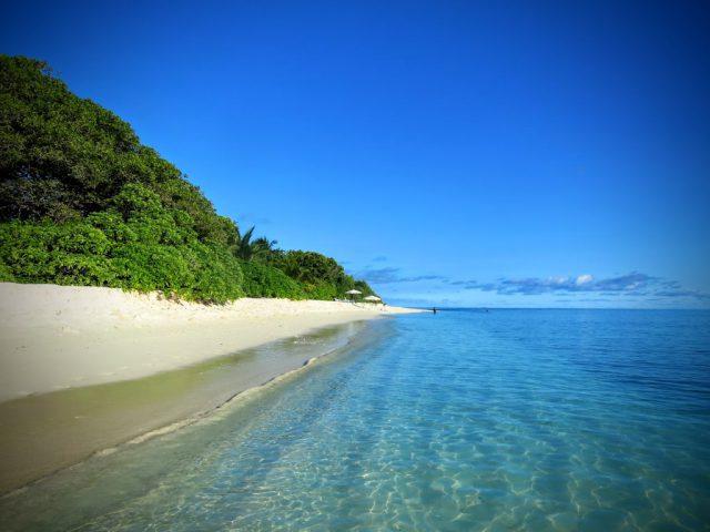 Stranden Bikini Beach på ön Ukulhas på Maldiverna